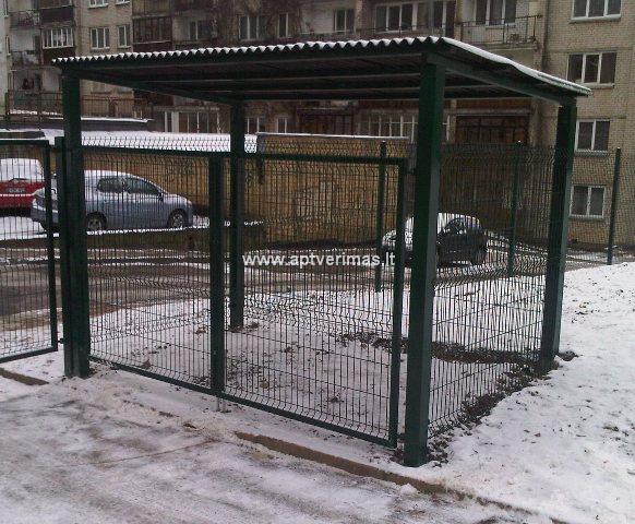 tvoros pavyzdžiai - šiukšlių konteinerių aptvėrimas